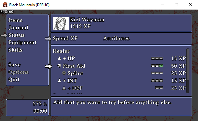 A screenshot showing a new part of the menu where you can spend experience points to purchase upgrades for your characters.